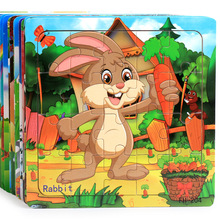 New Wooden 20 pieces Jigsaw Puzzle Kindergarten Baby Toys Children Animals Wood 3D Puzzles Kids Building Blocks Funny Game