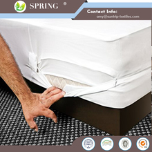 Vinyl fitted noiseless waterproof hypoallergenic plastic mattress cover with zipper