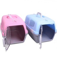 travel dog carrier made of plastic and steel wire sturdy and durable carrier for dog or cat