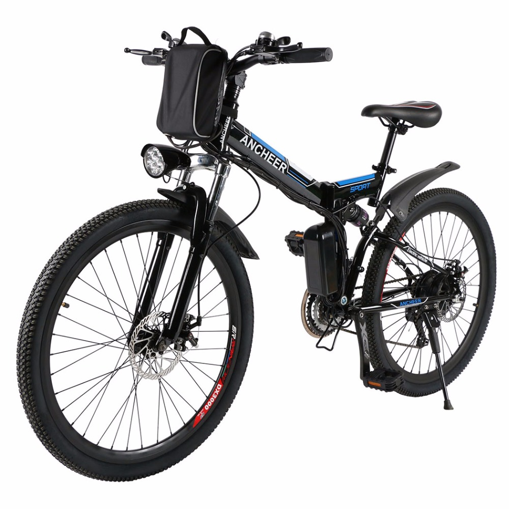 ANCHEER <strong>Folding</strong> Electric Mountain Bicycle with 26 Inch Wheel, Large Capacity Lithium-Ion Battery