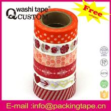 Qcustom water based glue easy peal without glue washi paper tape with high quality