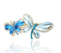 fashionable butterfly shape alloy enamel crystal hair claw clip