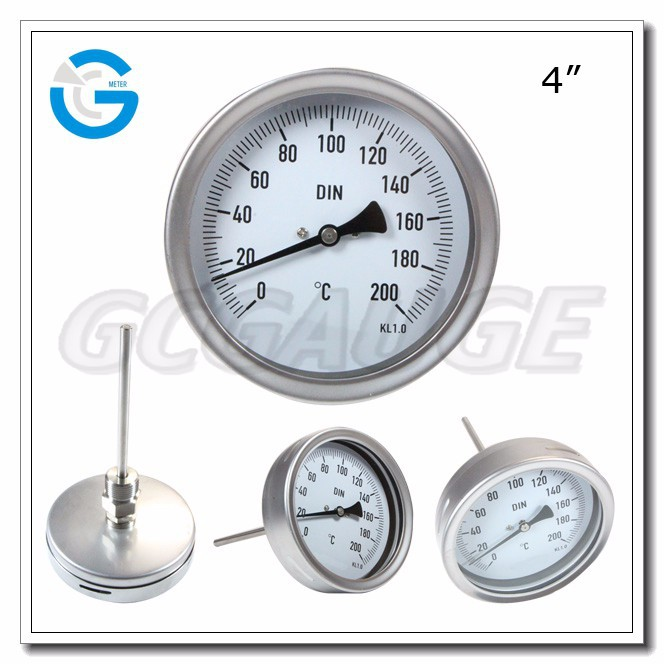 High quality 4inch 100mm ss304 bimetal thermometer with bayonet bezel in ningbo