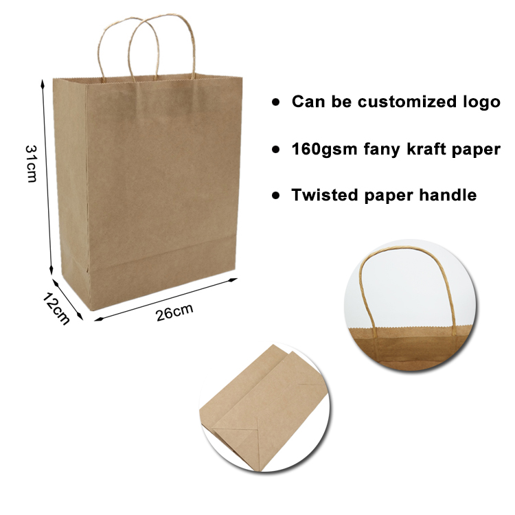 Custom logo recycled cheap brown kraft gift shopping paper bag with handle
