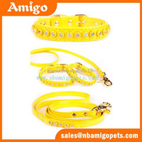 Amigo new decorative products faux leather bling bling fashion design collar leash sets, leashfor dogs