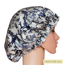 P.R.C direct factory custom small order print natural silk satin shiny night sleep hair wrap cap