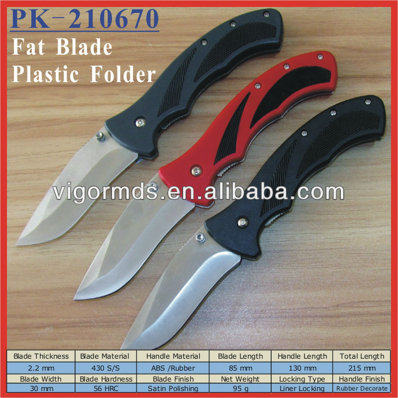 "(PK-210670) 5"" ABS Rubber Decorate Handle Fat Blade Folding Pocket Knives"