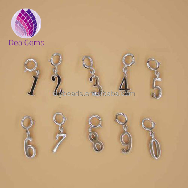 round spring clasp 925 sterling silver arabic number charms