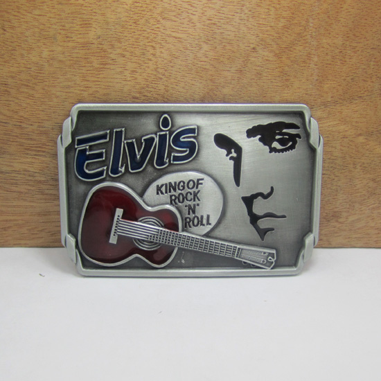 Zinc alloy fashion king of rock roll music guitar cowboy belt buckle with pewter finish manufacturers