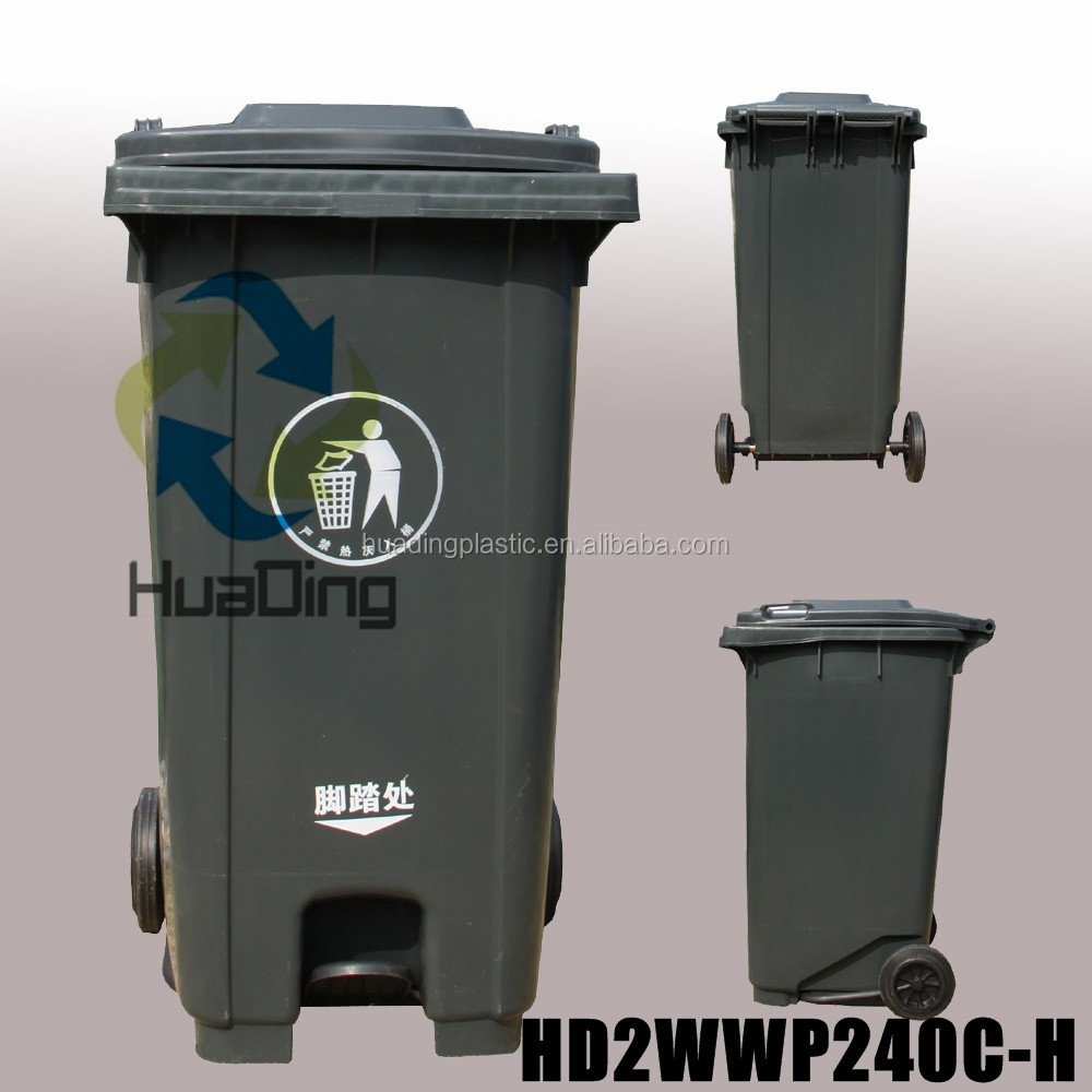 Outdoor Plastic Solid Recycling Wheelie Bin 240 litre