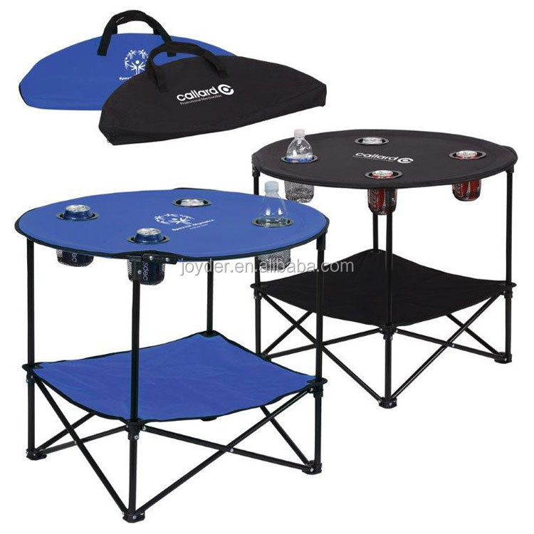outdoor Round BBQ aluminum folding camping table with cup holder