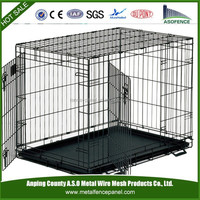 Black welded wire mesh dog cage with wheels
