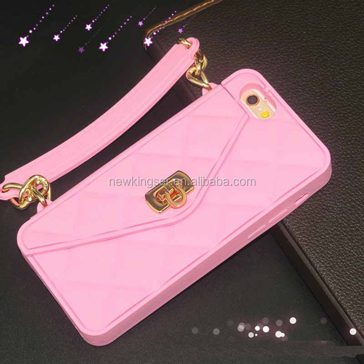 Handbag Chain Silicone Soft Case 3D Purse Cover with card holder for iphone 6/6p