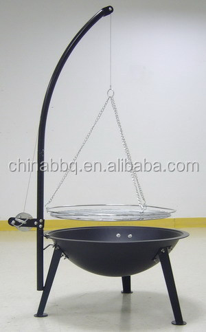 fire pit with pulley, adjustable cooking height grill