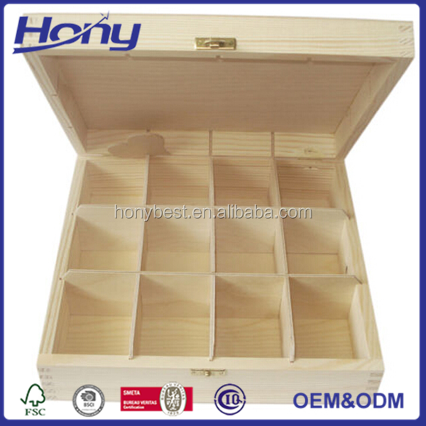 Free Sample Pine Essential Oil Wood Storage Hamper Box with 24 Slots