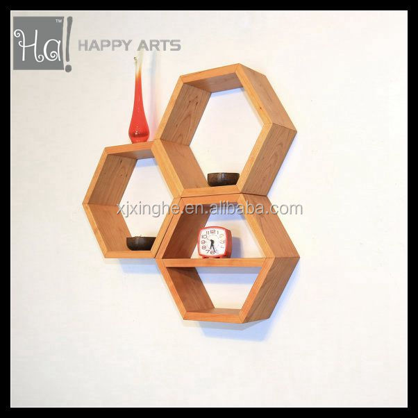 Wooden hexagon shape floating wall shelf with pine