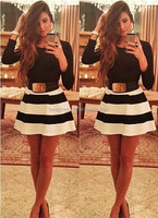 2015 walson New Lady Women's Sexy Knee Length Black And White Striped Dress Party Bandage Dresses