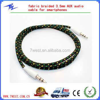 Multi colors Textile braided 3.5mm AUX audio cable