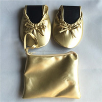 Light Gold Folding Flat Ballet Shoes With Carrying Case For Women Factory Wholesale