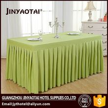 Guangzhou best selling pleat polyester banquet steps in table skirting royal