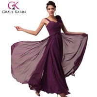 2015 grace karin hot selling one shoulder backless Women's Long Chiffon Evening dresses CL4604