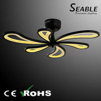 Acrylic material white and black celing fan with light