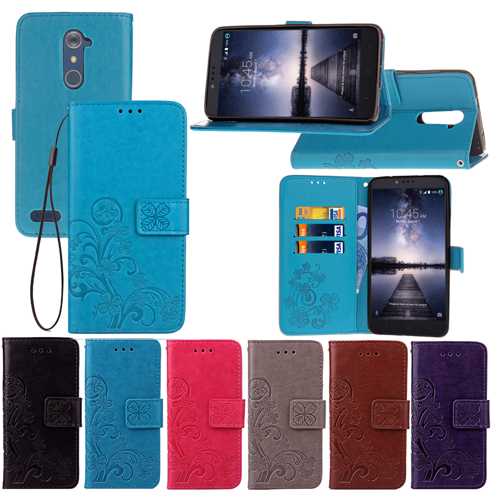 Clover PU Leather + Silicone Phone Case For ZTE Zmax Pro Wallet Flip Cover Case Capa
