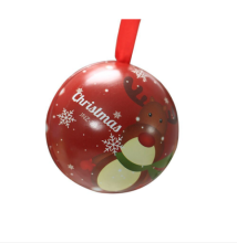Christmas Tin Metal Ball for Candy with ribbon