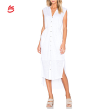 Women Fashion Clothes 2018 Wholesale Linen Maxi Shirt Dresses For Women Casual