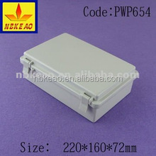 Good quality low cost ABS material waterproof elclosure box with hinged cover PWP654
