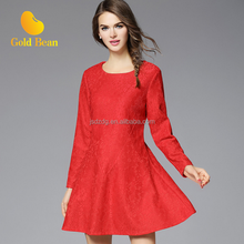 Large size women's autumn section of the increase in Europe and the United States elegant Slim long-sleeved lace dress