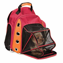 Deluxe Dog Carrier Travel Backpack Double Shoulders Straps Bag for Small Pet Puppy Cat Red Grey