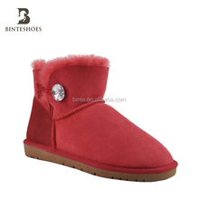trend 2018 ankle boot ladies shoes genuine leather shoes with stone Warm sheepskin lining boots with TPR sole woman boot