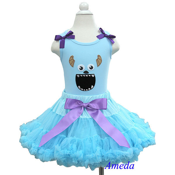 Light Blue Pettiskirt Purple Ribbon Plus Halloween Monster Light Blue Tank Top PettiDress 1-7Y
