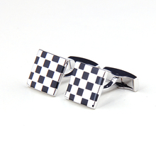 Black and white grid Hot Sale Stainless Steel Cuff Links