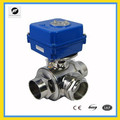 food grade DC12V stainless steel DN32 Electric 3-way T-low electric control valve
