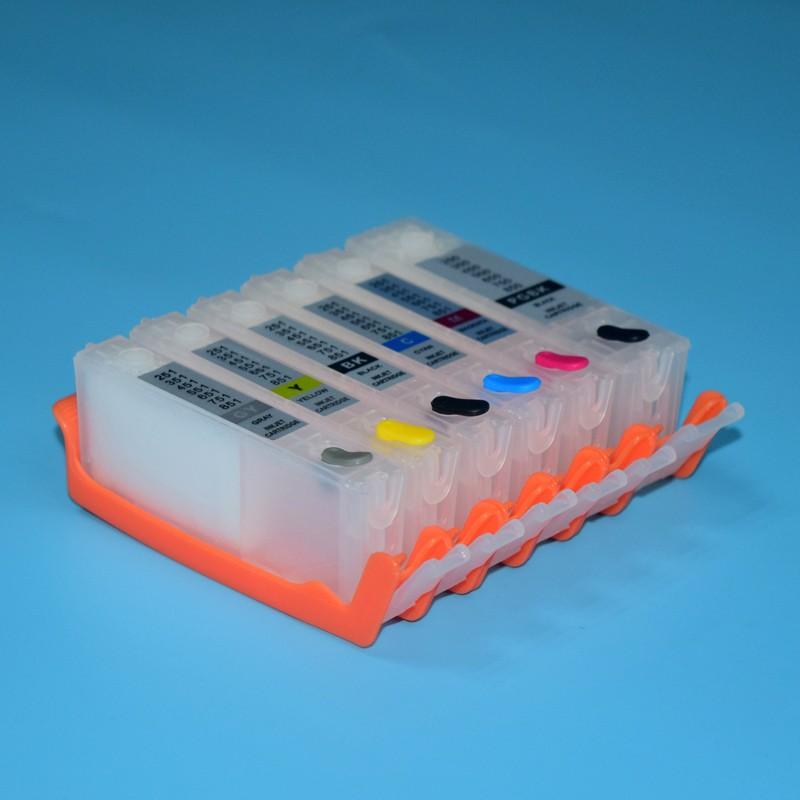 6 cor de recarga de cartucho de tinta com o chip ARC PGI-570 CLI-571 para impressora Canon PIXMA MG7750