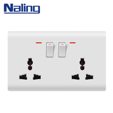 Naling OEM Customized Size Electric Home Multi 2 Gang 2 Way 6 Pin Wall Switch Sockets
