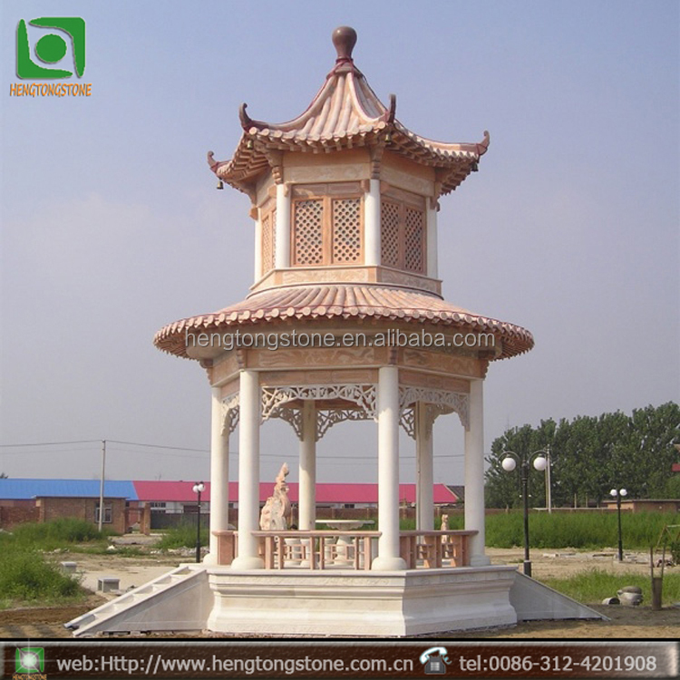 Hand Carved Outdoor Wholesale Garden Decorative Stone Pagoda Gazebo