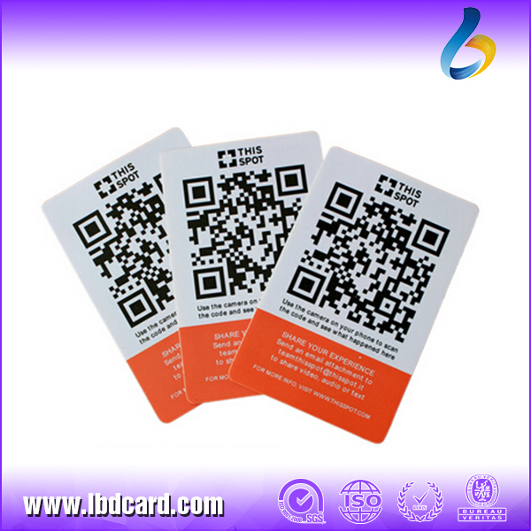 Free Sample Standard Credit Card Size Plastic Card QR Code