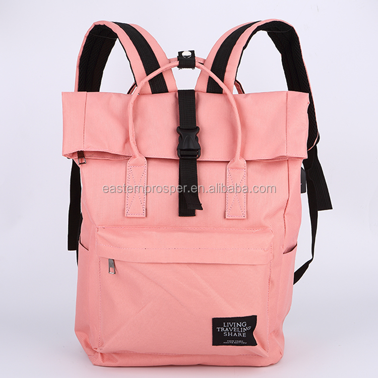 Wild solid color waterproof 600D polyester with PVC backpack with USB charger for girl