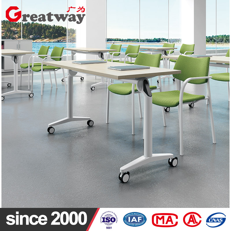 Factory iron steel metal leg wooden top folding table training conference desk