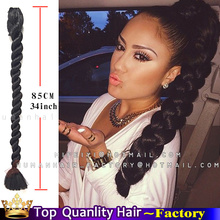 34inch Claw clip braids ponytails crochet Braiding Hair big Ponytail For Black Women Big Braid Synthetic Hair Extensions