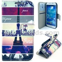 Cross Texture Flip Stand PC+PU Leather Wallet Phone Case for Samsung Galaxy S4 i9500
