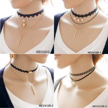 FengRise New Gothic Cord Tattoo Suede Velvet Leather Chocker Necklace Black Choker Necklace
