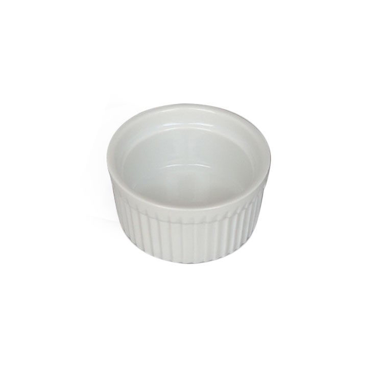 High quality pudding cake mould mini white color porcelain baking dish with rimmed