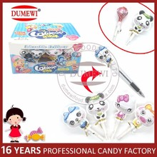 Lovely Animal Shape Lollipops Candy with Funny Pen Cap Toy