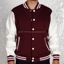 High Quality Varsity Jacket with Leather Sleeves American Fashion Wholesale OEM+custom color, logo printing embroidery