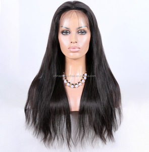 Wholesale natural dark brown color 100% Brazlian virgin hair glueless 360 lace wig 150% density long straight wig