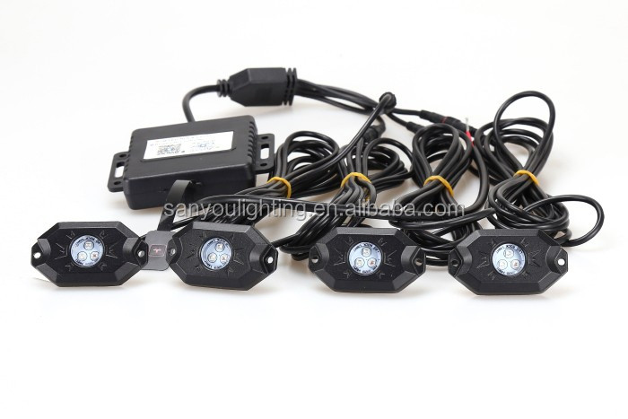 4 pcs rgb rock light for jeep bluetooth control 9w offroad led rock light